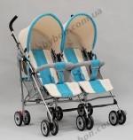 Детская коляска-трость для двойни SD209F Geoby (MFL)