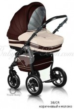 Универсальная коляска 2 в 1 Trans baby Mars (38-CR коричневый+молоко)