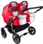 Универсальная коляска для двойни 2 в 1 Trans baby Jumper (красный+металик)