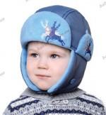 Детская  шапка  на синтепоне с флисом Baby Line 2013 для мальчика (серо-голубая) (размеры 48-52)