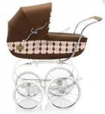 Детская коляска-люлька с сумкой Inglesina Classica Ballant Rosa 2011 (коричневый с клеткой)