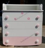 Комод-пеленатор ВЕРЕС (бело-розовый  с аппликацией)