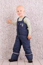 Детский зимний полукомбинезон Модный карапуз для мальчика (синий) р.86-110