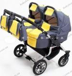 Универсальная коляска для двойни 2 в 1 Trans baby Jumper (т.серый+желтый)