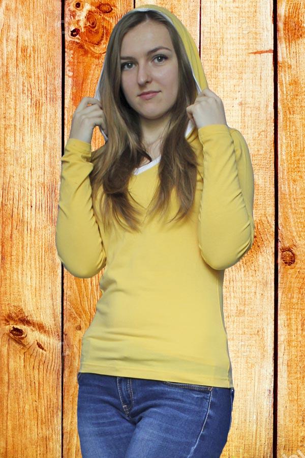 Футболка женская с длинным рукавом и капюшоном 6031