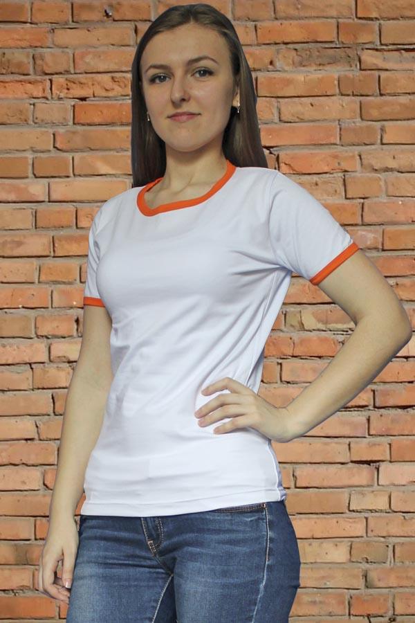 Футболка женская с оранжевым кантом 6051
