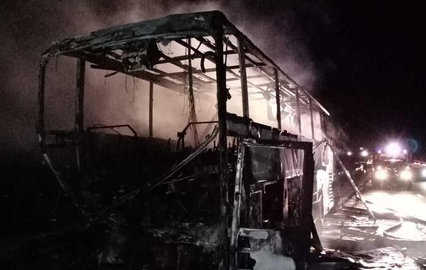 В Липецкой области сгорел автобус из Донецка, пострадали 5 человек. Видео